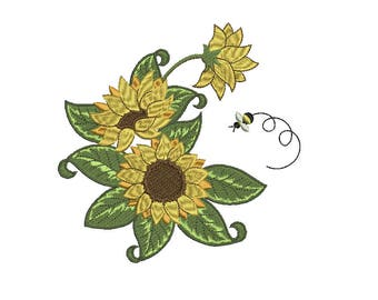 Vintage Sunflowers EMBROIDERY Design Floral Fill Embroidery Machine Instant Download Q8082
