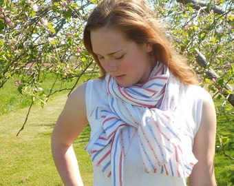Cotton, Scarf, Lightweight Summer Scarf, Striped scarf, reversible scarf, Patriotic Scarf, July Fourth Scarf, Independence Day accessories