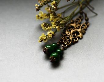 Green Forest Earrings, Long Emerald Dangle Earrings, Boho Green Woodland Earrings