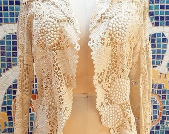 Victorian Irish Crochet 3D Antique Lace Edwardian Equestrian Ascot Jacket Wedding Coat Exquisite Museum Quality Bridal