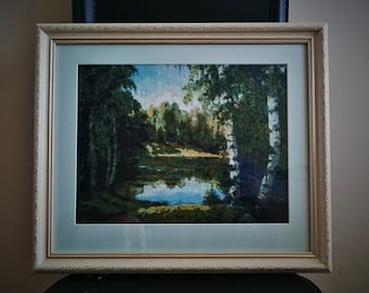 """Cross stitch framed picture """"Forest lake"""""""