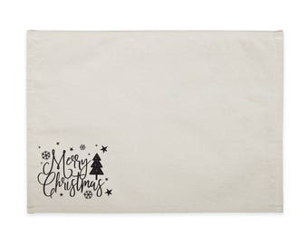 Merry Christmas Cotton Canvas Party Table Place Mat for Dinner Parties and Holiday Events, Table Setting, Tablescape, Home Decor, Set of 4