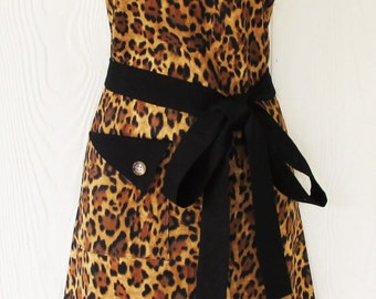 Aprons for Women, Leopard Print Apron, Animal Print Apron, Womens Full Apron, Retro Apron, KitschNStyle