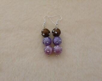 Purple Earrings, Pink Earrings, Brown Earrings, Sparkly Earrings, Glittery Earrings, Purple and Pink, Glittery Jewellery, Sparkly Jewellery