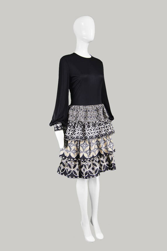 Ra for HARRODS Mod Synthetic Dress Couture Vintage Bishop Tiered Skirt Jersey 70s Geometric French TIKTINER Sleeve Silk Ruffled J Dress Ra tqgxFOxwB