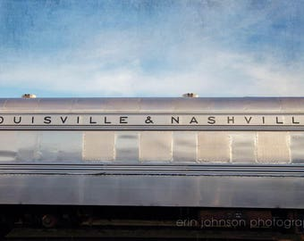 louisville and nashville, train photography, industrial home decor, train lover gift, silver home decor, blue sky, large man cave wall art
