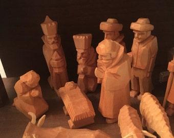 Handmade Wood Carved Nativity Holy Family Jesus Mary Joseph Manger Creche Figurines Germany