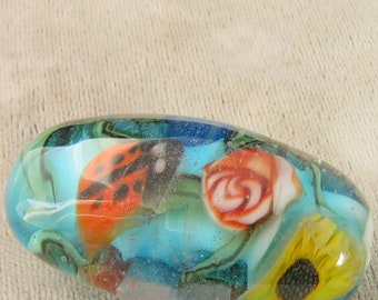 Ladybug Garden Lampwork  Glass Focal Bead w murrine sra