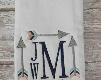 Square Arrows w/Stacked Monogram Embroidered Burp Cloth Rag
