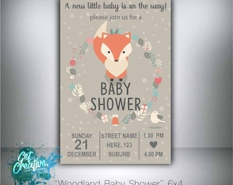 Woodland baby shower invitation - digital file supplied