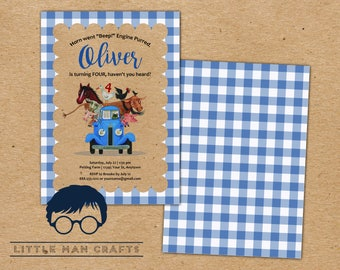 Little Blue Truck Birthday Invitation | Custom Digital Download