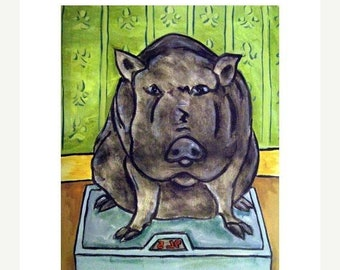 25% off Pot Belly Pig in the Bathroom Animal Art Print