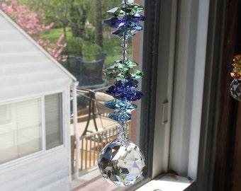 Swarovski Crystal Suncatcher, Swarovski Crystal 30mm Ball,  Cluster Of Swarovski Crystal Peacock Colors Octagons, Keira's Crystal Creations