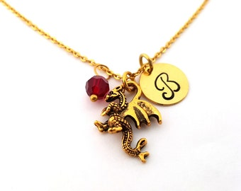 Dragon Necklace - Gold Initial Necklace - Birthstone Necklace - Gold Initial Necklace - Personalized Necklace - Gift for Her
