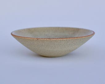 Ceramic dish buff stoneware with clear glaze