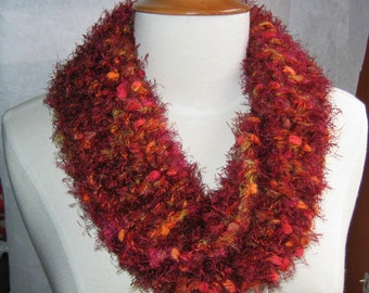 Luscious Twisted Scarf Cowl Neck Warmer Wine and Burgundy
