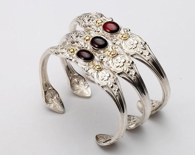 Silver Spoon Bracelet   Silverware Jewelry   Silver and Gold Bracelet   Garnet Silver Bracelet   Gold Rose Bracelet   Floral Silver Bangle