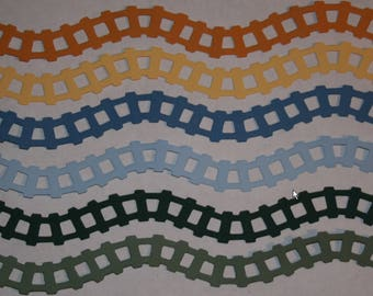 4 Train Track Border Die Cut Railroad, Scrapbooking, Paper Piecing, Party, Page, Collage