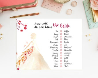 How Well Do You Know the Bride - Bridal Shower Game - Instant Download -Printable Watercolor Flower Bridal Shower Game - BS2