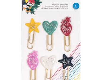 Shimelle Box of Crayons Large Glitter Paper Clips  -- MSRP 5.00