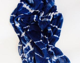 Shibori Indigo Scarf, Shibori Scarf, Blue cotton Scarf, XL Cotton voile scarf, Hand Dyed Scarf, Cotton Scarf
