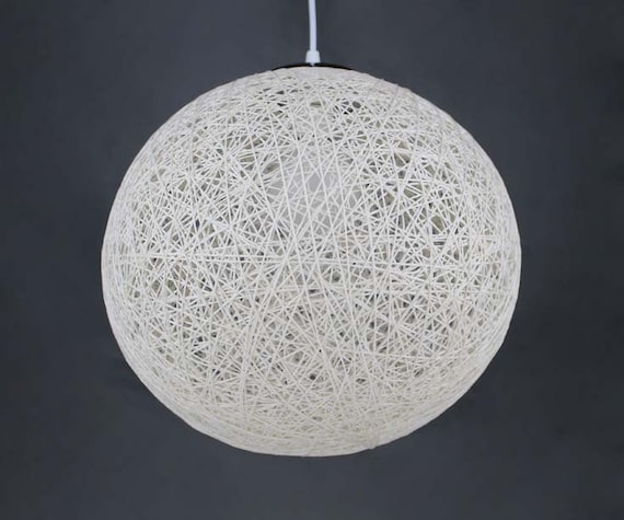 Free Shipping Sphere White Pendant Light-Hand Winding Hemp