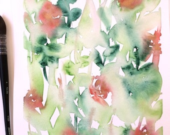 Original watercolour painting | Floral | abstract | wall decor | green | Red | Gold