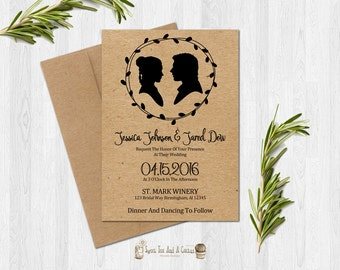 Star Wars Wedding Invitation Kraft Paper Design Sci-fi Movie Han and Leia Geek Nerd Classic Elegant Unique Printable Digital File Download