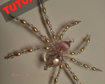 TUTORIAL: Spider Ornament Halloween Christmas Beaded Wire Window Suncatcher Decoration