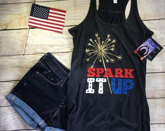 fourth of july tank top, sparklers tshirt, sparklers tank top, spark it up, 4th of july tank, 4th of july womens shirt, 4th of july shirt