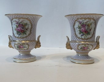 19th Century French Porcelain Urn Pair - pair of French Floral Vases