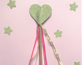 Heart ribbon wand, ideal party favour or flower girl wand. Heart wand, party wand, heart decorations, heart birthday party, wedding wand