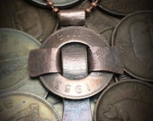 Ireland Half Penny Celtic Cross with Recycled Copper and Solid Copper Ball Chain