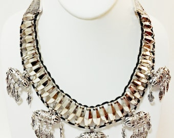 Silver Beaded Necklace / Tribal Bib Necklace / Statement necklace.