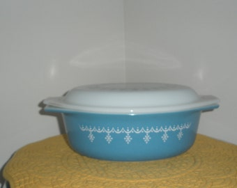 Vintage Blue Pyrex Casserole Dish with Snowflake Garland