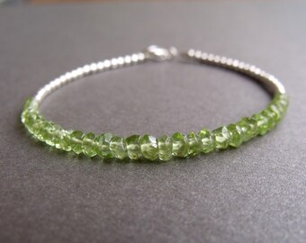 Green Peridot Gemstone and Sterling Silver Bead Stacking Bracelet