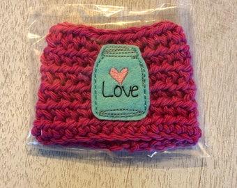 Magenta Colored Firefly Mason Jar Crochet Coffee Cozy, Drink Sleeve