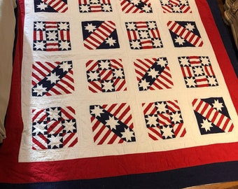 Vintage red white blue stars stripes patriotic handmade quilt USA FULL/QUEEN
