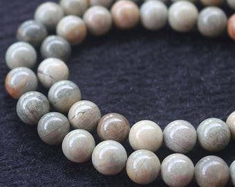 Silver Leaf Jasper Gemstone, Smooth Round Beads,15'' per strand 6mm 8mm 10mm