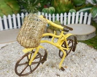 Miniature Bike for Fairies ~ Mini Yellow Bicycle w/ Basket ~ Tiny Metal Rustic Bike Accessory ~ Miniature Garden & Fairy Terrarium Supply