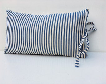 Ticking cushion, blue striped, traditional ticking, blue and cream, lumber cushion, rectangular cushion, striped cushion, cushion cover