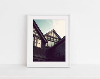 Digital Download, Digital Print, Original Photography, Wall Art, Home Decor, Printable, Bayard, Roof Study, Architecture, Blue Sky, New York