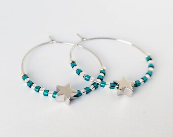 Hoop earrings with star for luck/ Bead embellished hoop earrings/ Gift for her/ Shining teal hoop earrings/ Boho style earrings