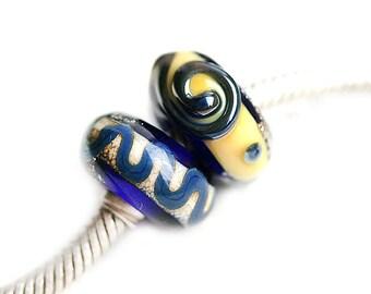 Dark Blue charms Lampwork Large hole beads European style bracelet beads Cobalt blue Handmade lampwork big hole beads SRA by MayaHoney