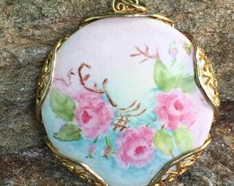Hand Painted Pendant Porcelain Flower Pendant Floral Necklace Pendant Porcelain Jewelry Statement Pendant