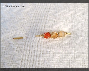 Shawl Pin, Gold, Orange, Peach, Wire, Wrap