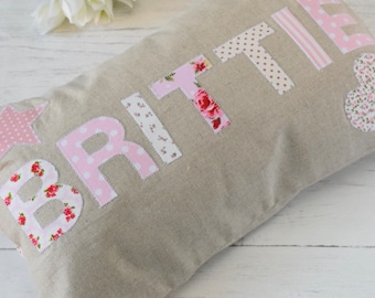 Personalised Cushion, Girls Name Pillow, Girl's Room, Pretty Gifts for Her, Nursery, Bedroom Decoration, Shabby Chic, Poppy & Primrose,