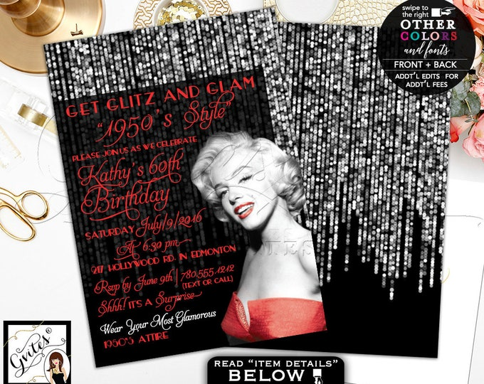 1950s Style Marilyn Monroe Invitations, 60th birthday surprise party, adult invitation, red and silver, glitz and glam, hollywood theme 5x7