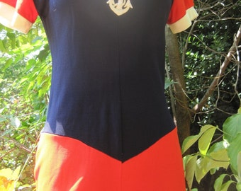 Vintage Blue and Orange Knit Romper