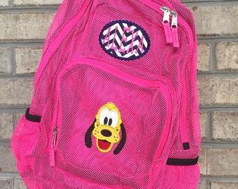 Monogrammed Backpack | Mesh Backpack | Back to School | Girls Backpack | Pluto Backpack | Book Bag | Disney Backpack | School Bag | Backpack